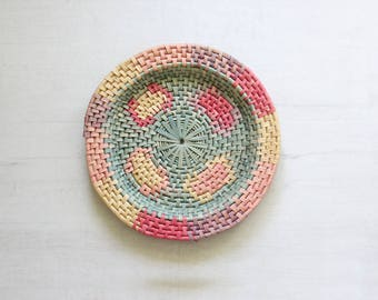 Woven Boho Basket Bowl Wall Hanging Round Weaving Sculptural