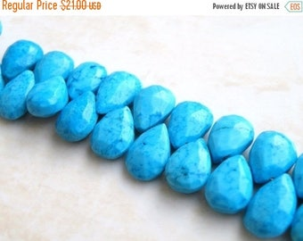 Deep Discount Sale Howlite Dyed Turquoise Gemstone Faceted Pear Briolette 10.5 to 11.5mm 16 beads