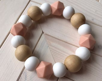 Natural Wood and Silicone Teether Bracelet