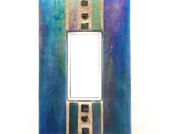 iridescent blue switch plate decora light switch cover decorative wall switch plates glass - Decorative Outlet Covers