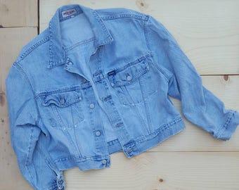Vintage Denim Jacket  //  Vtg 90s GUESS Made in the USA Distressed Faded Fraying Light Wash Lightly Cropped Denim Jacket