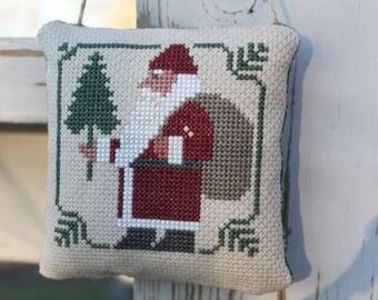 Cross Stitch Christmas Ornament Santa with Bag Home Decor Made to Order