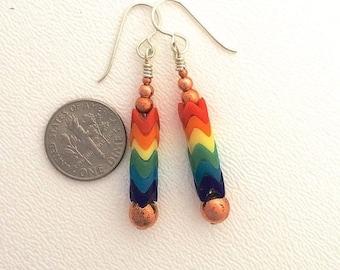 OnSale Rainbow Glass Snake Bead Earrings with Sterling Silver by Kate Drew-Wilkinson