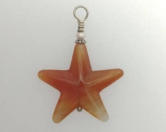 Summer Sale Agate Star Pendant with Pearl