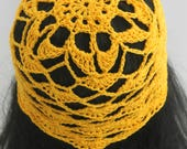 Crocheted Adult Flower Beanie. Hat. Yellow. Sunshine. Shells. Lacy. Mesh.