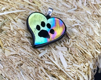 Multi colored heart paw print pendant