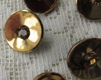 6 Vintage 1970s Czech Glass Buttons Handmade Gold Glass Czechoslovakia  #52