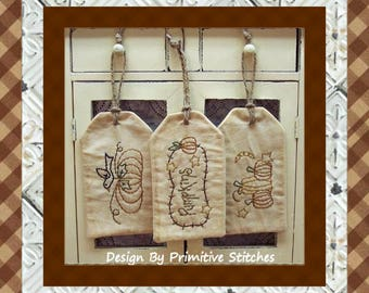 Pumpkin Tag Collection-Primitive Stitchery-E-PATTERN by Primitive Stitches-Instant Download