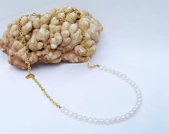 Pearl Necklace, white necklace, beaded chain, gold necklace, small bead chain, freshwater pearl