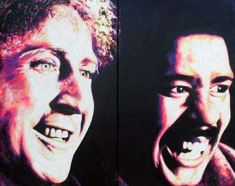 """Actors and comedians """"Gene Wilder & Richard Pryor"""" Original signed painting by Mel Fiorentino."""