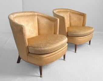 2 mid century modern gold brocade barrel back club chairs