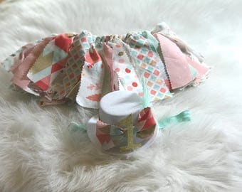 Birthday Party Outfit, 1st Birthday Tutu Fabric Skirt, Smash Cake Outfit, Birthday Party Hat Headband, Baby Girls Headbands and Hair Bows,
