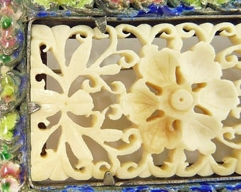 Vintage Art Deco Chinese Enamel Brooch Carved Celluloid