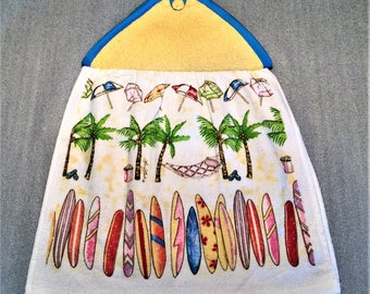 SURF BOARDS Double Layer Hanging DECORATIVE Towel, oven door towel, kitchen, housewarming, birthday, holiday, gifts