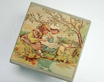 Gift Box, Trinket Box, Jewelry Box, Keepsake Box, Handmade Decorated Box, Vintage Papers Box, Victorian Girls Picnic Scene