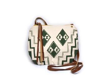 date purse  • small cross body purse - handprinted canvas • waxed canvas - olive green geometric print • crossbody bag