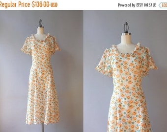 STOREWIDE SALE 1930s Dress / Vintage 30s Dress / 1930s Sheer White Floral Cotton Gauze Dress Small Medium