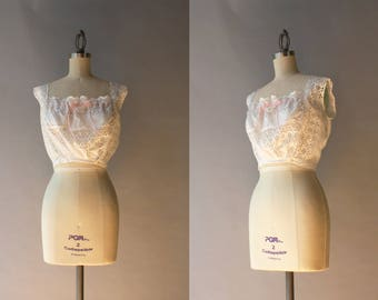 Antique Edwardian Camisole / White Eyelet Cambric Corset Cover / Antique 1900s Cotton Camisole Blouse