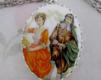 ON SALE- vintage porcelain print baroque era courting couple cabochon pendant necklace in silver tone - j5604