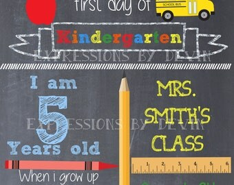 First Day of School Chalkboard sign printable file ( Choose size 8x10, 11x14 or a 16x20