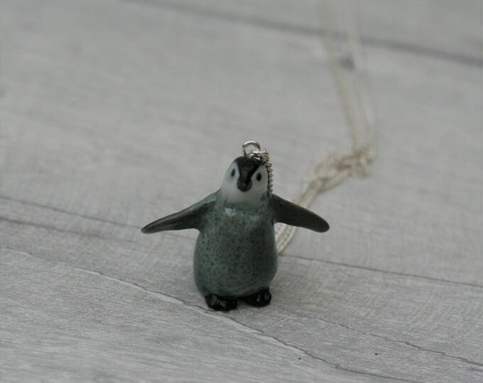Porcelain Bird Necklace, Penguin Necklace, Animal Necklace