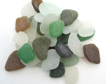 English beach glass, Cornish sea glass, Surf tumbled glass, eco craft supply, jewelry making supplies, 30 frosted pieces, green brown white