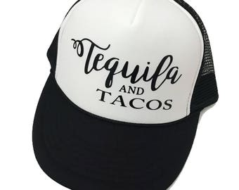 Tequila Trucker Hat, Tequila and Tacos, Summer Hat, Women's Hat, Summer Snap Hat, Mexico Hat, Women's Trucker Hat, Tequila, Taco Hat, Fiesta