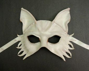 Wolf or Fox or Dog Leather Mask in White on Brown with a slight pearl sheen
