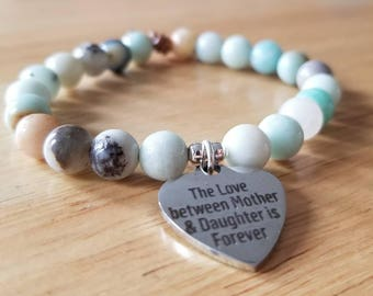 Mothers day gift mom gifts from daughter, amazonite bracelet, beaded bracelet for women, boho jewelry, the love between mother and daughter
