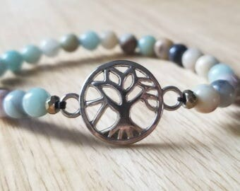 Amazonite bracelet, beaded bracelet, yoga bracelet, tree of life jewelry, mothers day gift mom gifts from daughter, boho jewelry, mala beads