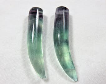 Natural Smooth Rainbow Fluorite Horn Bead 8x37mm - One Pair
