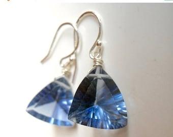 XMAS IN JULY 20% off, Dangle Blue Earring, Tanzanite Blue Trillionaire Earrings, Laser Cut Quartz Trillion Gemstone Earrings, Gift Idea, Chr