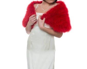 Promo Sale: Red Marabou Wrap / Valentine's Day Gift/  sizes XS- 2X