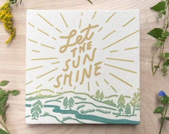 Let the Sun Shine 8 x 8 Canvas Screen Print Wall Art Landscape