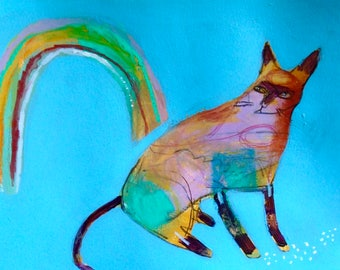 EMERY original painting 'rainbow cat and homeopath remedies' outsider cat folk natural