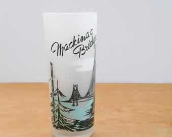 Vintage Souvenir Michigan Glass • Frosted Mackinac Bridge Glass