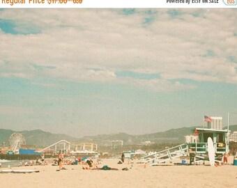 SALE Santa Monica beach print, travel photography, LA photo, Santa Monica pier photograph, retro, summer print, coastal art, ferris wheel pr