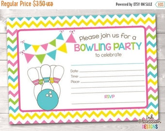 35% OFF SALE Printable Bowling Party Invitation Fill in the Blank Birthday Party Invite Instant Download PDF Pink Blue Green & Yellow Chevro