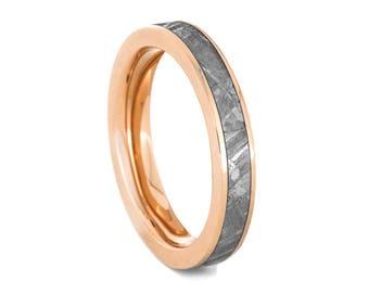 Gibeon Meteorite Wedding Band, 14k Rose Gold Ring For Women, Handmade Gold And Meteorite Jewelry