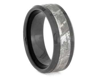 Beveled Black Ceramic Ring With Gibeon Meteorite Inlay, Space Ring, Signature Style