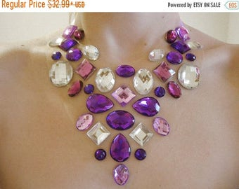 ON SALE Purple Floating Rhinestone Statement Necklace, Floating Gem Necklace, Rhinestone Illusion Necklace, Belly Dance Jewelry