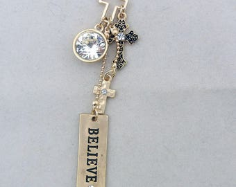 Matte Gold-tone Charms with Believe Message