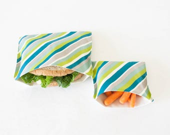 PLASTIC-FREE Teal Blue Stripe Sandwich and Snack Bags, Reusable, Organic Cotton, Eco Friendly - Set of 2