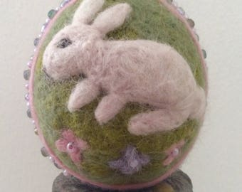 White Rabbit Dog Rose Easter Egg Easter Home Decor Seasonal Decor
