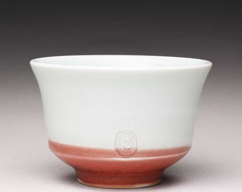 handmade porcelain tea bowl, ceramic teacup, sencha chawan, small pottery bowl with turquoise celadon and bright red glazes