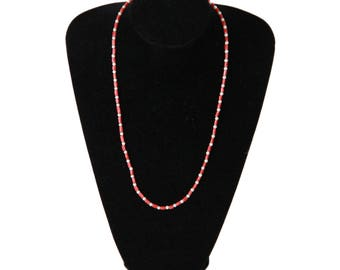 HANDMADE 4mm Round Freshwater Pearls & Coral Beads NECKLACE