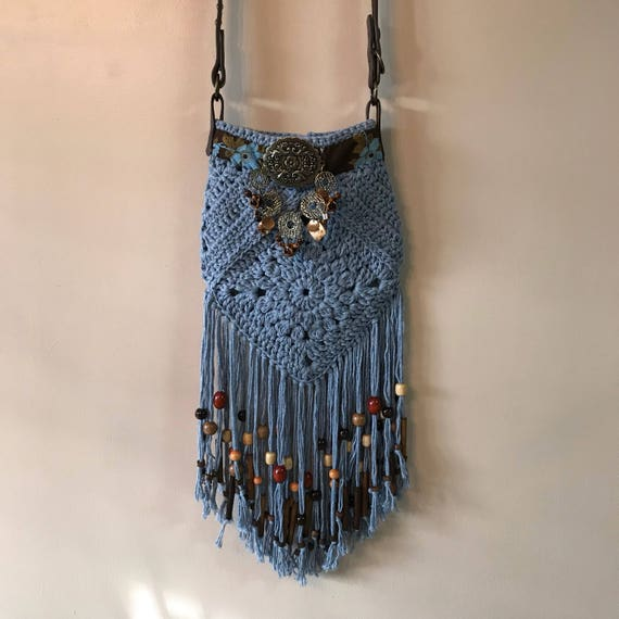 Fringed Bohemian Hippie Denim Colored Handmade Crocheted Crossbody Shoulder Bag
