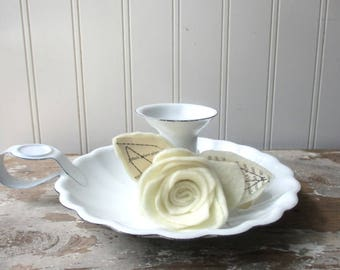 White enamelware candlestick candle holder candleholder with Cream felt rose French text Rustic Farmhouse Cottage