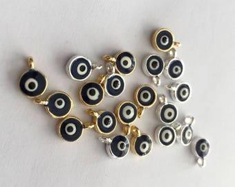 2pcs- Matte Gold Plated  Evil Eye Charm-5x7mm-(001-050)