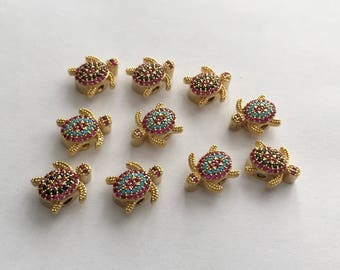 1pc- Matte Gold Plated Mini Turtle, Tortoise Bead, spacer-12x10x5mm-(001-044)